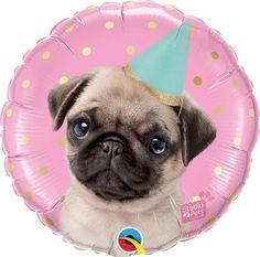 Pawty Birthday Balloon / Puppy Pawty Balloon / Puppy Dog Balloon / Pug Balloon
