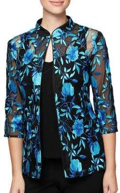 Alex Evenings Plus Two-Piece Embroidered Cardigan and Scoopneck Tank Top Suit Fashion, Fashion Dresses, Stitching Dresses, Alex Evenings, Shirt Bluse, Evening Tops, Lace Tops, Casual Tops, Suits For Women