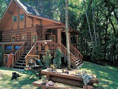 Log Homes, Log Cabins, Timber Frame Homes Manufacturer Log Cabin Living, Log Cabin Homes, Log Cabins, Mountain Cabins, Mountain Living, Cabins In The Woods, House In The Woods, Interior Exterior, Home Interior
