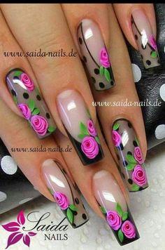 Sheer black nails with roses Fabulous Nails, Perfect Nails, Gorgeous Nails, Rose Nails, Flower Nails, Fingernail Designs, Nail Art Designs, Fancy Nails, Trendy Nails