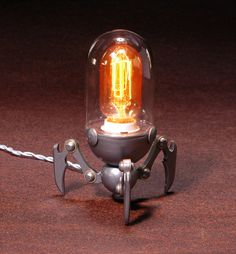 TriBot Steampunk Lamp by IronAntlerForge on Etsy, $210.00