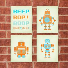 """This set of four 8x10 Robot Prints has a retro tech flair, perfect for any Robot themed room!    This listing includes the entire set at a reduced price of $30! Individual prints also sold separately. Set features: BEEP Means I Love You in Robot and three Robots!     Soon available in """"girl"""" tones!"""