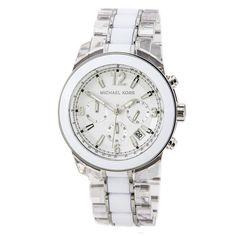 6fd47c0b59a6 Michael Kors MK5766 Women s Preston White Dial Plastic   Steel Bracelet  Chronograph Watch