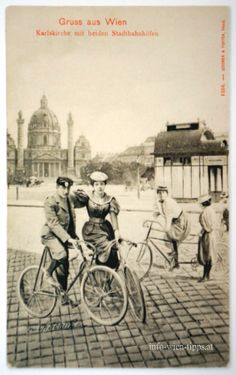 Cycling on the Karlsplatz, Vienna 1900 Radfahren am Karlsplatz Bycicle Illustration, Bycic. Old Photos, Vintage Photos, Giant Bikes, Austro Hungarian, Old Bikes, Pet Carriers, Black Magic, Animals For Kids, Vintage Photography