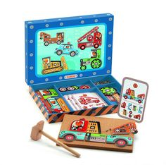 Djeco ~ Tap Tap ~ Vehicles Toys For Boys, Kids Toys, Create Your Own Picture, Kid Picks, Wooden Shapes, Toys Online, Uk Online, Wood Toys, Perfect Game