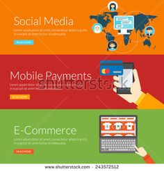 Flat design concept for social media, mobile payments and e-commerce. Vector illustration for web banners and promotional materials