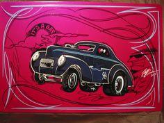 Garage Art Rat Rod Collector 1941 Willys Gasser Rat Fink Von Dutch Hot Rod   eBay
