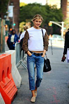 denim  loafers. #MarthaHunt #offduty in NYC.