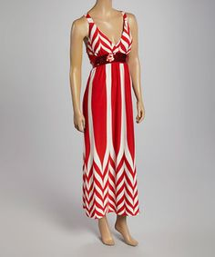 Look what I found on #zulily! Red & White Zigzag Maxi Dress by Life and Style Fashions #zulilyfinds