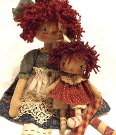 "Primitive 22"" Doll Raggedy Anne Annie Folk Art Vintage Heart Ornie OOAK Hang Tag #NaivePrimitive #Handmadebyseller"