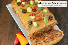 This easy dinner combines delicious Mexican flavors into a moist meatloaf with a cheesy top. Gluten free and high protein! Hot Dog Recipes, Beef Recipes, Cooking Recipes, Special Recipes, Great Recipes, Recipe Ideas, Ground Turkey, Ground Beef, Mexican Meatloaf