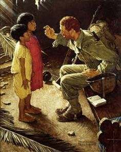 Norman Rockwell Military serviceman meets children in area