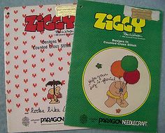 Lot 2 Vintage Ziggy Design In Counted Cross Stitch Books 1981 1982 Tom Wilson
