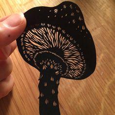 paper-cutting mushroom named exotic mushrnom  by  toyoko takemura
