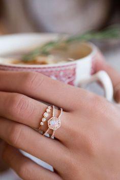 7 Breathtaking Moonstone Engagement Rings via @WhoWhatWear #diamondjewelry