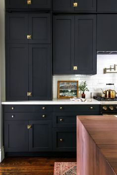 Tall, Dark and Handsome IKEA Cabinets Complete this Victorian Kitchen using Semi. - Tall, Dark and Handsome IKEA Cabinets Complete this Victorian Kitchen using Semihandmade Cabinet Fr - Black Kitchen Cabinets, Ikea Cabinets, Black Kitchens, Home Kitchens, Small Kitchens, Ikea Kitchens, Modern Kitchens, Kitchen Counters, Black Kitchen Paint