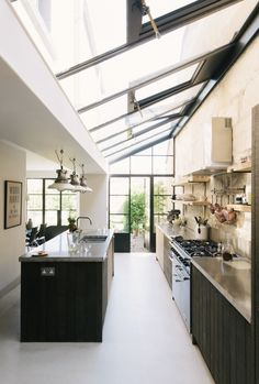 This kitchen in Larkhall in Bath was designed with cabinets from the Sebastian Cox collection by deVOL and features handmade cabinets with concrete. Stone Kitchen, New Kitchen, Kitchen Oven, Kitchen Ideas, Kitchen Decor, Layout Design, Design Ideas, Design Rustique, Devol Kitchens