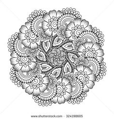 round element for coloring book black and white ethnic henna pattern floral mandala - Intricate Mandalas Coloring Pages