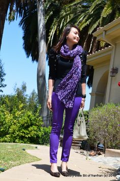 Colored pants are huge right now - love this shade of purple!