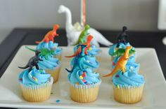 This Modern Dinosaur Birthday Party Isn't A Pain To Pull Off I skipped making anything myself and went almost completely store-bought for this fun, bright and colorful dinosaur birthday party. Dessert Party, Birthday Party Desserts, Cupcake Party, 3rd Birthday Parties, Birthday Cupcakes, Dessert Table, Birthday Ideas, Party Cakes, Dinosaur Cupcakes