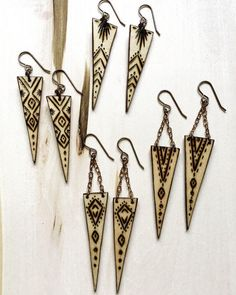 Wood Burned Earrings : Choose One pair. Wood Burned Earrings by WoodBurnedwithLove Wood Burning Crafts, Wood Burning Patterns, Wood Burning Art, Wood Crafts, Wooden Earrings, Wooden Jewelry, Crafts To Make, Arts And Crafts, Laser Cut Jewelry