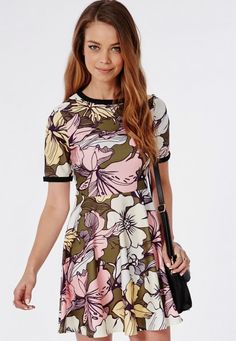 I need this in my life!! So pretty for spring! http://www.missguided.co.uk/catalog/product/view/id/150514/s/short-sleeve-crepe-skater-dress-khaki-floral/category/640/