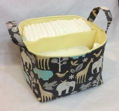 "Diaper Caddy 10""x10""x7"" Fabric Bin, Fabric Storage Organizer Bin, Basket, Grey Zoology. $37.00, via Etsy."
