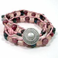 Pink Ice Raspberry Kiwi Czech Glass Double Wrap Handmade BOHO Bracelet   KatsAllThat - Jewelry on ArtFire @katsallthat