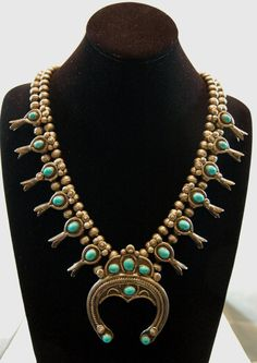 Old pawn Navajo Alice Long Persian turquoise squash blossom sterling necklace.