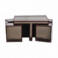 Leather Trimmed Metal Coffee Table with Cubical Stools