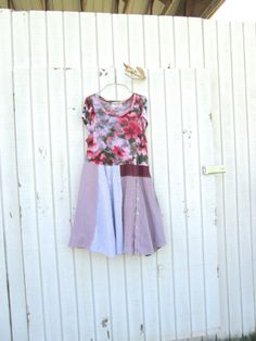 funky floral upcycled jersey and cotton dress / by CreoleSha, $87.00