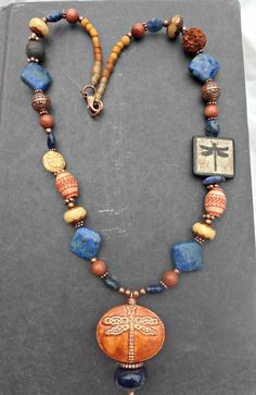 Dragonfly. Stone, Indonesian glass, copper metal and ceramic necklace.
