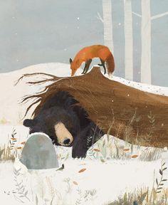 Kunst Inspo, Art Inspo, Art And Illustration, Animal Drawings, Art Drawings, Bear Art, Naive Art, Moon Art, Wildlife Art