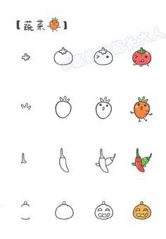 厨房大作战,如何画各种Q版蔬菜和小厨具,看起来很好吃的样子via基质的菊长大人 #技能大叔#