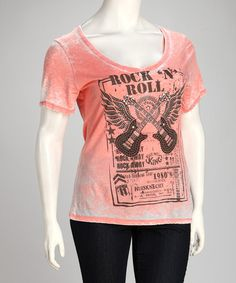 Take a look at this Coral 'Rock N' Roll' Plus-Size Burnout Tee by Urban X on #zulily today!