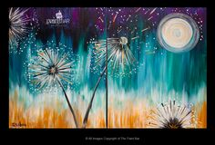 Moonlit Dandelions Doubles Painting - Jackie Schon, The Paint Bar Paint Bar, Wine And Canvas, Couple Painting, Canvas Designs, Craft Night, Art Party, Pictures To Paint, Beautiful Paintings, Oeuvre D'art