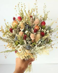 Burgundy Dream Lavender Dried Flowers Bouquet  Preserved Daisy Rose Flowers Bouquet  Colorful Yellow Yarrow Fall Winter Bridal bouquet