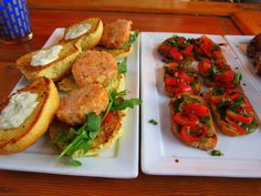 Shrimp Cake Sliders and Tomato Bruschetta at The Cocktail Club, 479 King Street