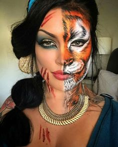 tiger costume makeup - Mindblowing Makeup Ideas To Try This Halloween 29 Unique Halloween Makeup, Halloween Looks, Disney Halloween Makeup, Scary Halloween, Half Face Halloween Makeup, Halloween Ideas, Tiger Halloween Costume, Half Face Makeup, Skeleton Costumes
