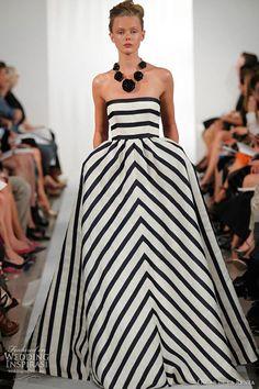 Oscar De La Renta spring 2013 strapless stripe ball gown monochrome black white