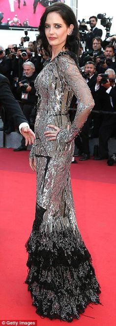 Attention-grabbing: Joining the model beauty on the red carpet was the film's lead Eva Gre...