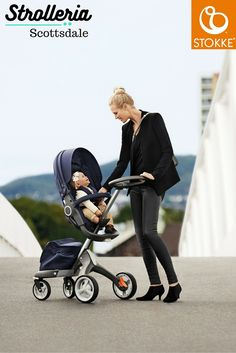 The Stokke Xplory elevates the strolling experience—literally. Stokke's innovative design allows for the stroller seat to be raised, allowing the parent to better see the child and the child to better see the world. Orbit Baby, Baby Accessories, Baby Gear, Innovation Design, Baby Room, Baby Car Seats, Baby Strollers, Parenting, Baby Products