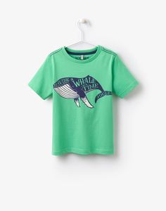 Jnrben Green Whale Screen Print Jersey T-Shirt , Size 9yr-10yr | Joules UK