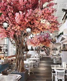 Coffee Shop Design, Cafe Design, Store Design, Outdoor Restaurant, Cafe Restaurant, Garden Cafe, Restaurant Interior Design, Small Restaurant Design, Blossom Trees