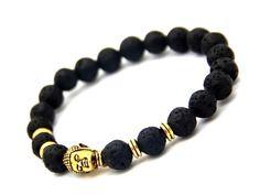 Gold Buddha Lava Bead Bracelet - Mystic Expression - 1