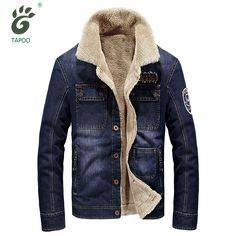 TAPOO brand denim jacket men fashion cowboy style jean jacket high quality thicken warm retro denim jacket with fur mens outwear ** AliExpress Affiliate's buyable pin. Find similar products on www.aliexpress.com by clicking the VISIT button #Menscoats