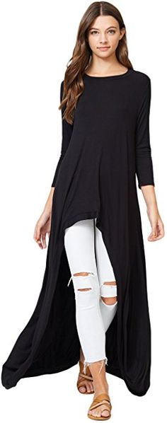 5819bff7cb7 Annabelle 3 4 Sleeve High Low Casual Long Maxi Tunic Tops Black Large X- Large T1022C at Amazon Women s Clothing store