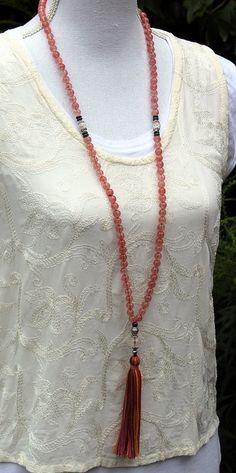 Collier mala de belle cerise quartz pierres par look4treasures