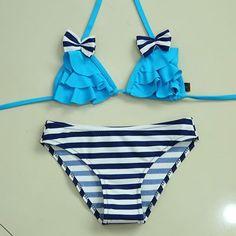 Sexy Bow Push Up Bikini Bra Bandeau Wremovable Straps Triangle 2 Pc