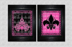 2 Chandelier Fleur de lis Prints 8 x 10 Customized Charming Paris Noir pink black Themed Wall Decor by YankeePeachDesigns on Etsy